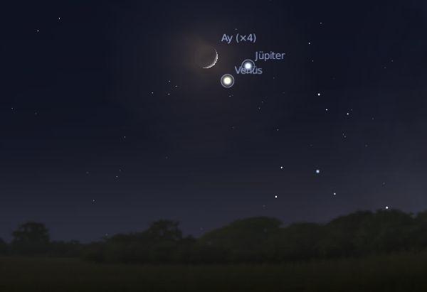 1 Aralık, Ay, Venüs ve Jüpiter Birarada