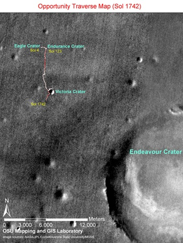 Opportunity'nin Eagle Kraterine inişinden sonra (4 Ocak 2004) 1742 Mars günü sonunda (17 Aralık 2008) toplam 13.62 km yol kat etti.