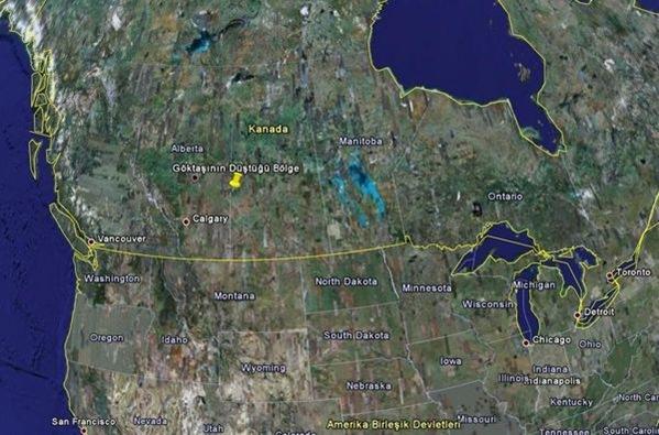 Göktaşı parçalarının bulunduğu bölge, Kanada'nın Alberta ve Saskatchewan eyaletlerinin sınırındaki nehrin civarında yer alıyor.