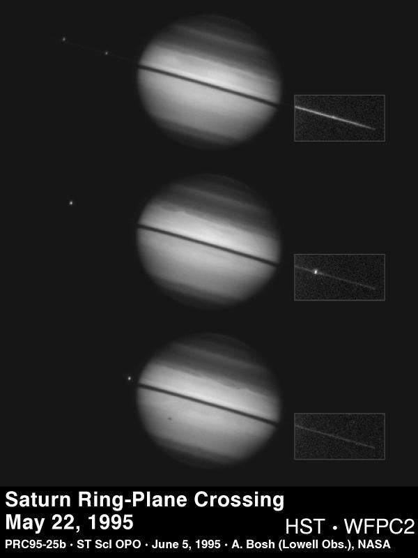 1995 Mayıs'ında Satürn'ün halka düzlemi geçişinde Hubble tarafından elde edilmiş görüntü.