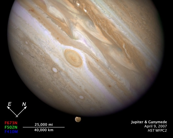 Yukarıda fotoğrafın ölçeklendirilmiş halidir. Sol altta 40.000 km nin görüntüde ne kadar yer kapladığını görüyorsunuz. Dünya'nın çapının 13.000 km olduğunu göz önünde bulundurursanız, Jüpiter'in ne kadar büyük bir gezegen olduğunu daha iyi hayal edebilirsiniz.