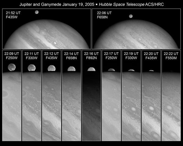 Alt kısımda seri halinde yer alan yakın plan fotoğraflarda, Ganymede'in Jüpiter'in arkasına girmeden birkaç dakika önceki hali görülüyor. 19 Ocak 2005'te mavi ve kırmızı filtreler kullanılarak çekilmiş.