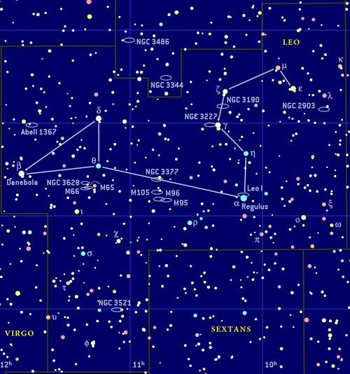 Aslan takımyıldızındaki yıldızlar ve diğer gökcisimlerinin detaylı bir haritası