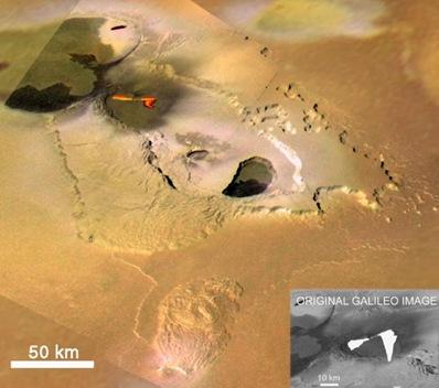 Galileo uydusu tarafından  Io'da Tvashtar Catena bölgesinde 1999'da görüntülenen volkan patlaması