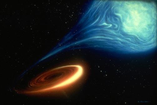 Kara delikler bir yıldızı yakalayıp, onunla yoldaş oldukları zaman yıldızdan madde çalmaya başlarlar.