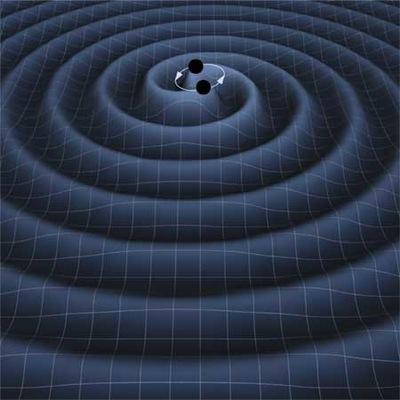 İkili bir karadelik sisteminin birbiri etrafında dönerken etrafındaki uzayda oluşturduğu dalgalanmaların bir gösterimi.