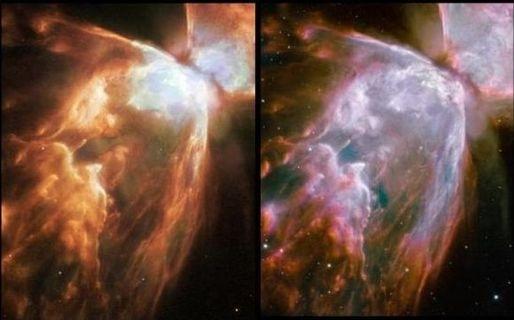 Bu fotoğrafta ise eskiden alınan Kelebek Nebulası (Butterfly Nebula, NGC 6302 veya Bug Nebula) görüntüsü (sol) ile bugün yayınlanan fotoğraf (sağ) karşılaştırılmış.